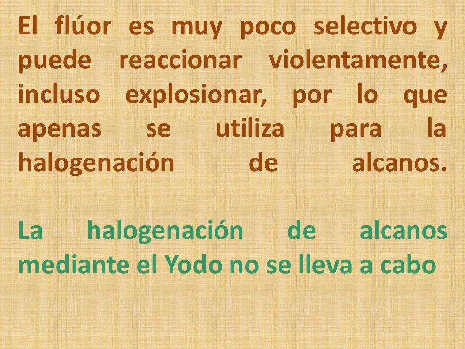 El flúor es muy poco selectivo y puede reaccionar violentamente, incluso explosionar, por lo que apenas se utiliza para la halogenación de alcanos.