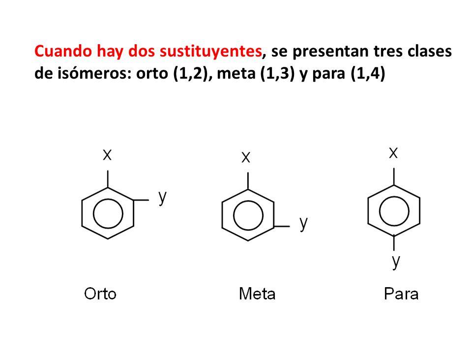 Cuando hay dos sustituyentes, se presentan tres clases de isómeros: orto (1,2), meta (1,3) y para (1,4)