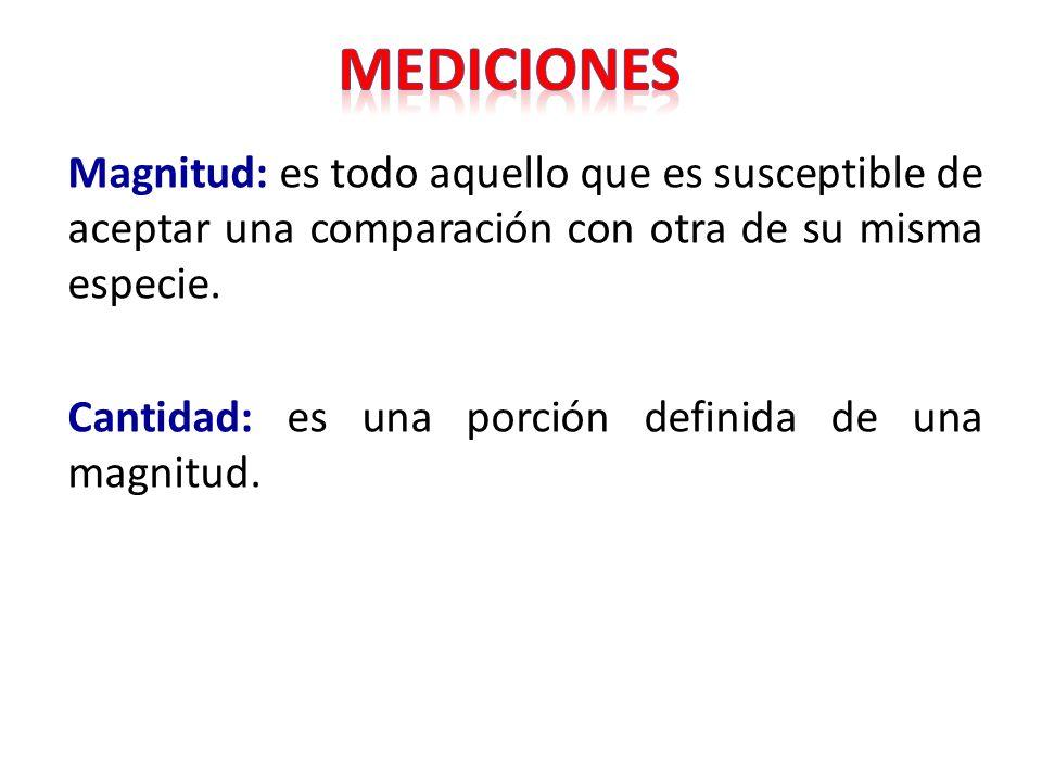 MEDICIONES Magnitud: es todo aquello que es susceptible de aceptar una comparación con otra de su misma especie.