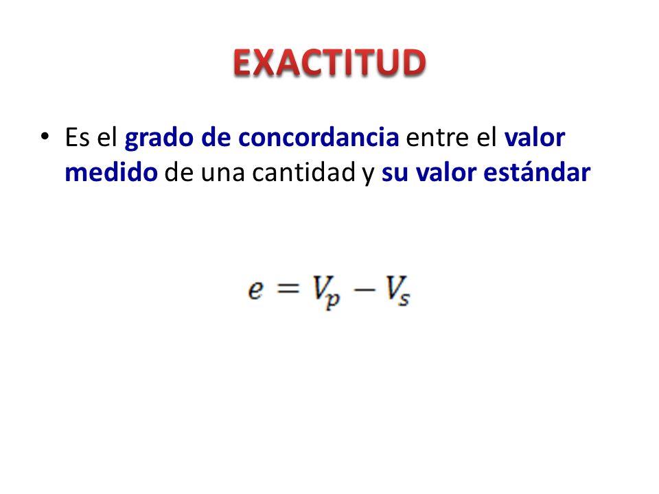 EXACTITUD Es el grado de concordancia entre el valor medido de una cantidad y su valor estándar