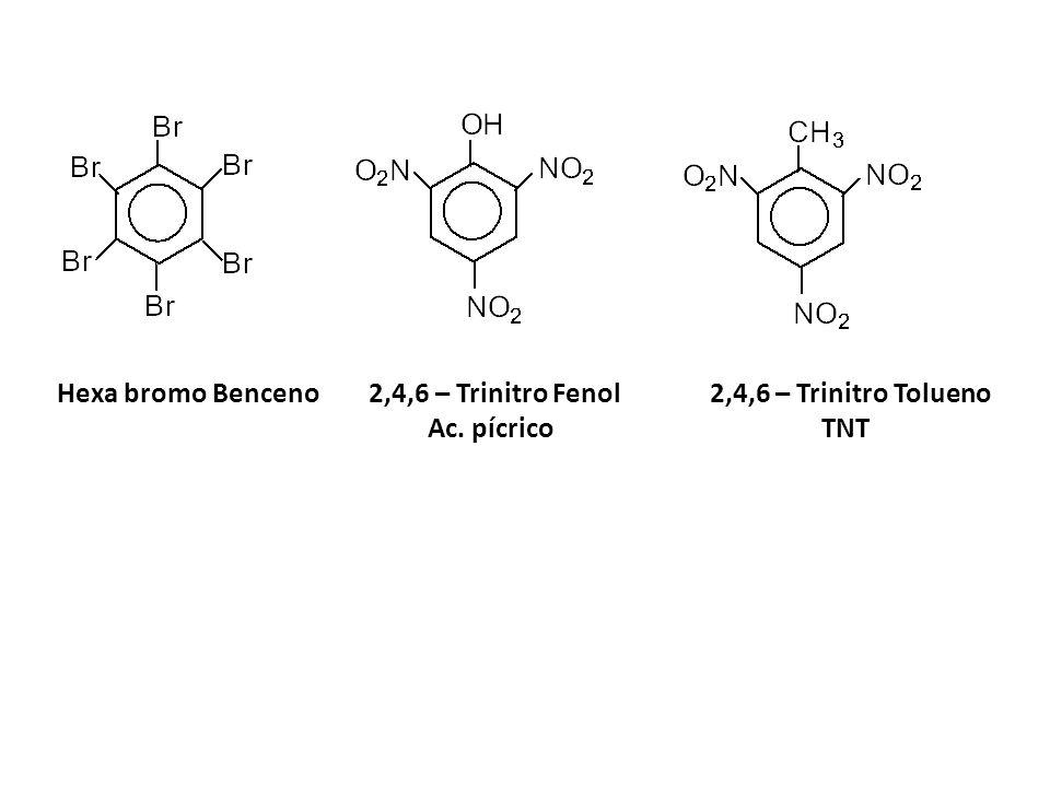 Hexa bromo Benceno 2,4,6 – Trinitro Fenol 2,4,6 – Trinitro Tolueno