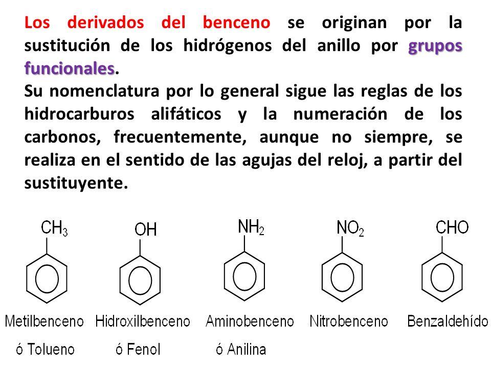 Los derivados del benceno se originan por la sustitución de los hidrógenos del anillo por grupos funcionales.