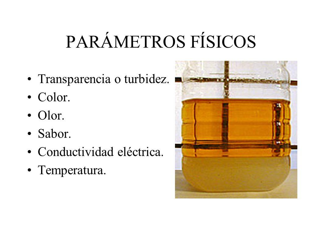 PARÁMETROS FÍSICOS Transparencia o turbidez. Color. Olor. Sabor.