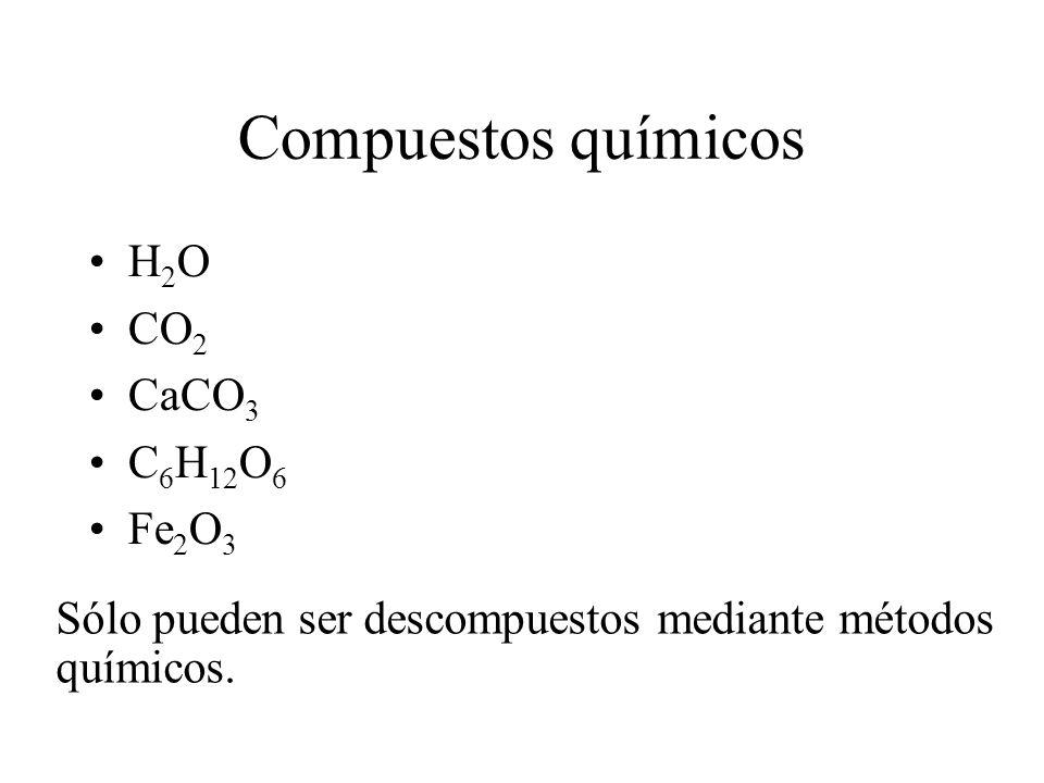 Compuestos químicos H2O CO2 CaCO3 C6H12O6 Fe2O3