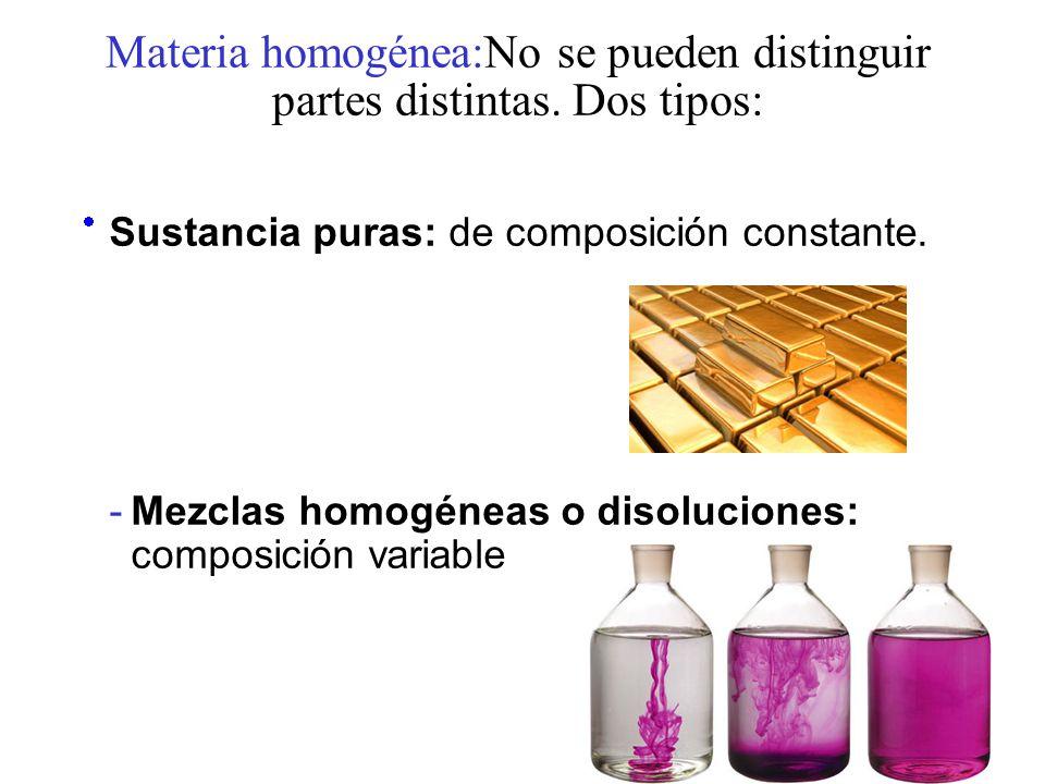 Materia homogénea:No se pueden distinguir partes distintas. Dos tipos: