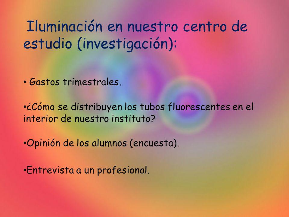 Iluminación en nuestro centro de estudio (investigación):