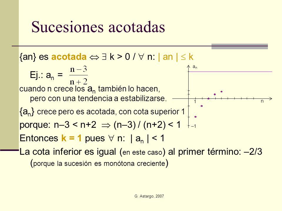 Sucesiones acotadas {an} es acotada   k > 0 /  n: | an |  k