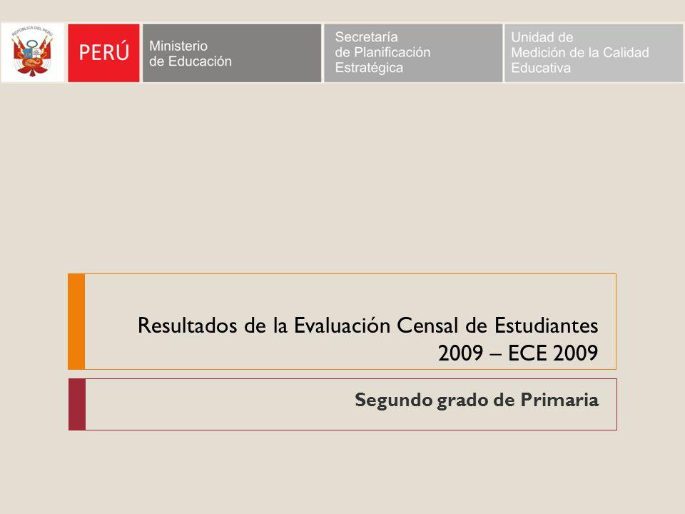 Resultados de la Evaluación Censal de Estudiantes 2009 – ECE 2009
