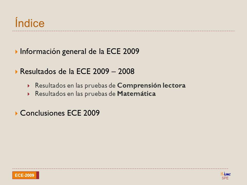 Índice Información general de la ECE 2009