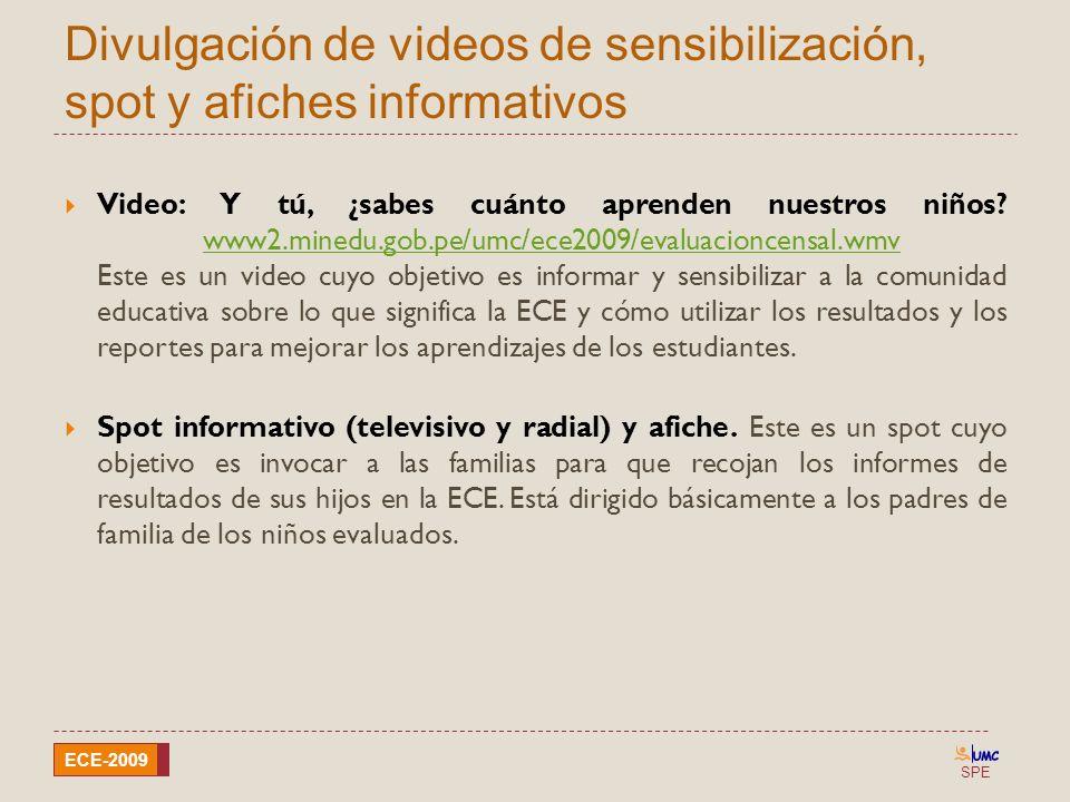 Divulgación de videos de sensibilización, spot y afiches informativos