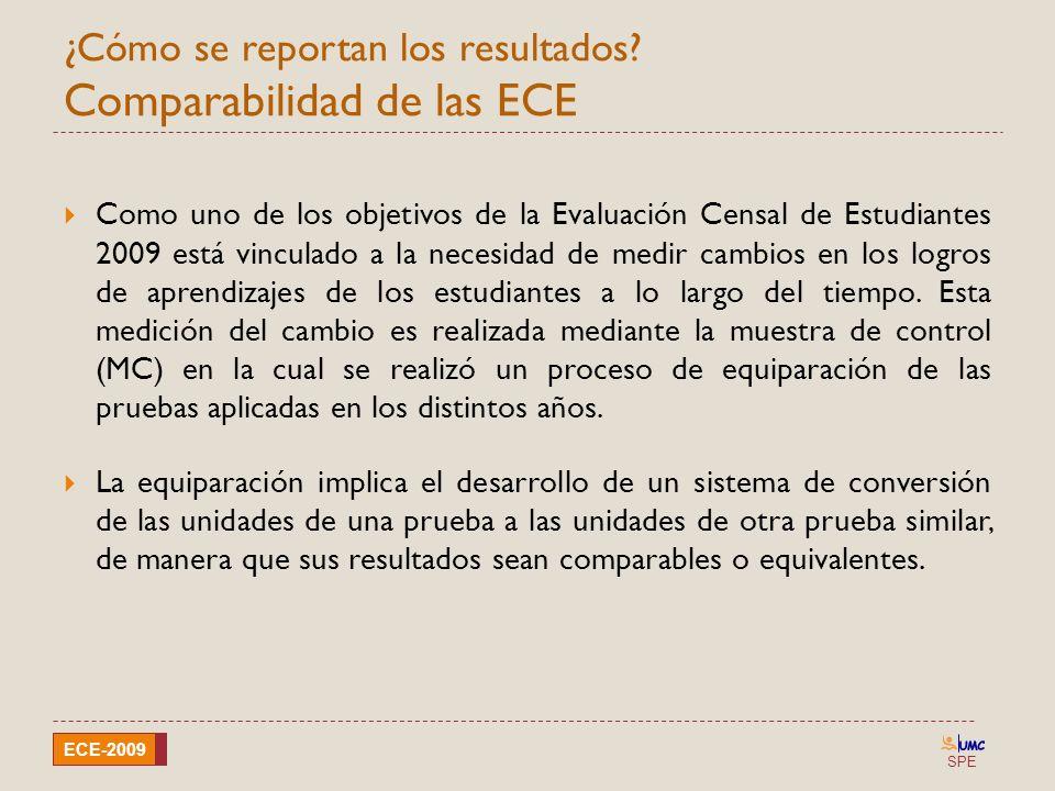 ¿Cómo se reportan los resultados Comparabilidad de las ECE