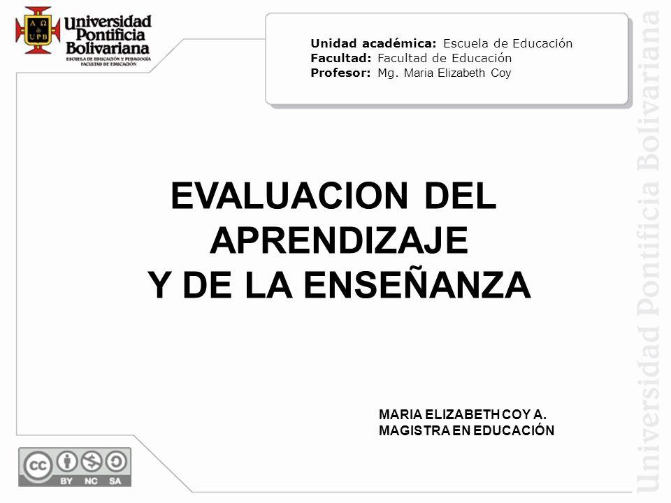 EVALUACION DEL APRENDIZAJE Y DE LA ENSEÑANZA