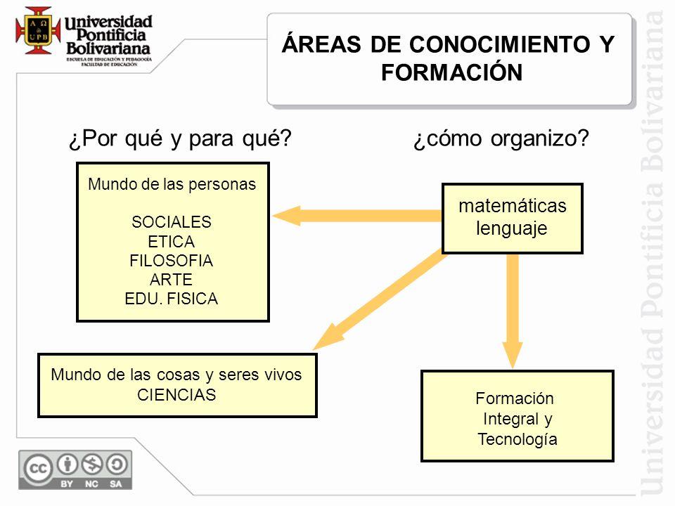 ÁREAS DE CONOCIMIENTO Y