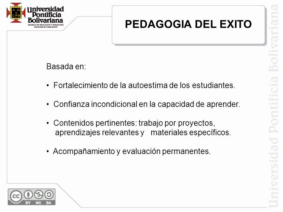 PEDAGOGIA DEL EXITO Basada en: