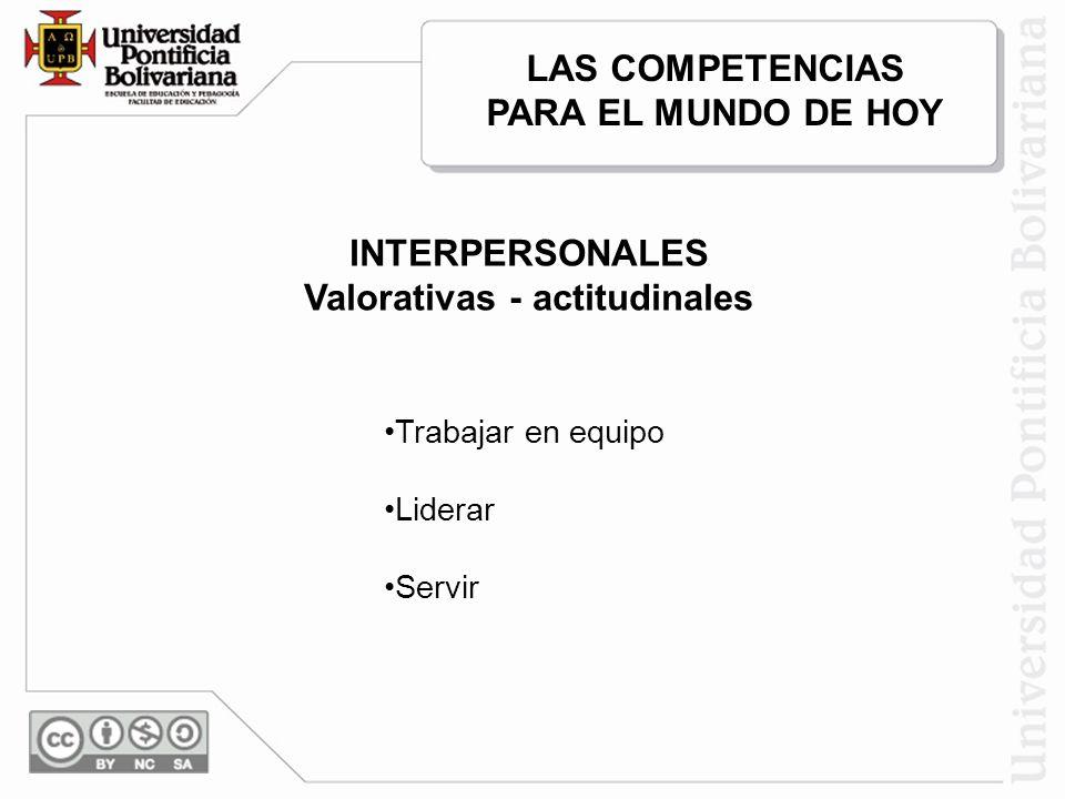 LAS COMPETENCIAS PARA EL MUNDO DE HOY Valorativas - actitudinales