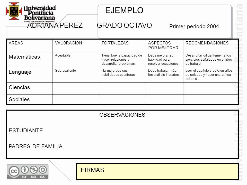 EJEMPLO ADRIANA PEREZ GRADO OCTAVO FIRMAS Primer periodo 2004