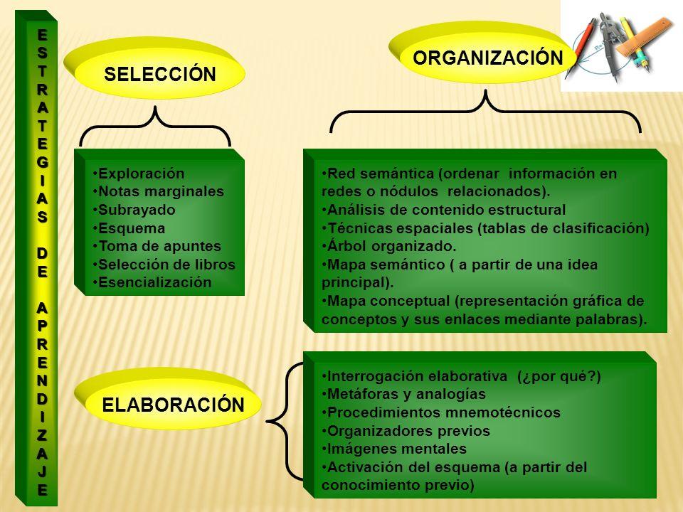 ORGANIZACIÓN SELECCIÓN ELABORACIÓN