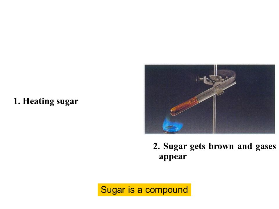 1. Heating sugar 2. Sugar gets brown and gases appear Sugar is a compound