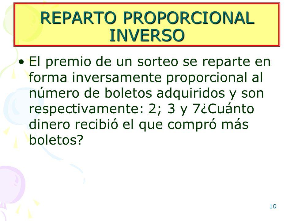 REPARTO PROPORCIONAL INVERSO