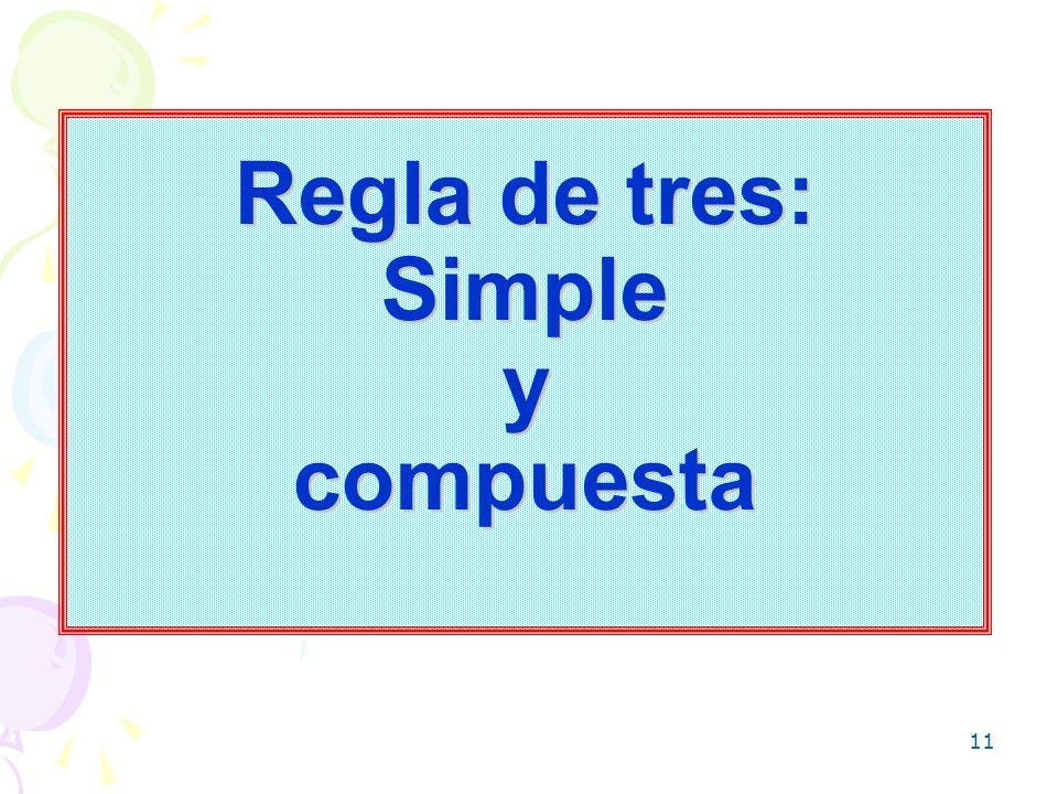 Regla de tres: Simple y compuesta