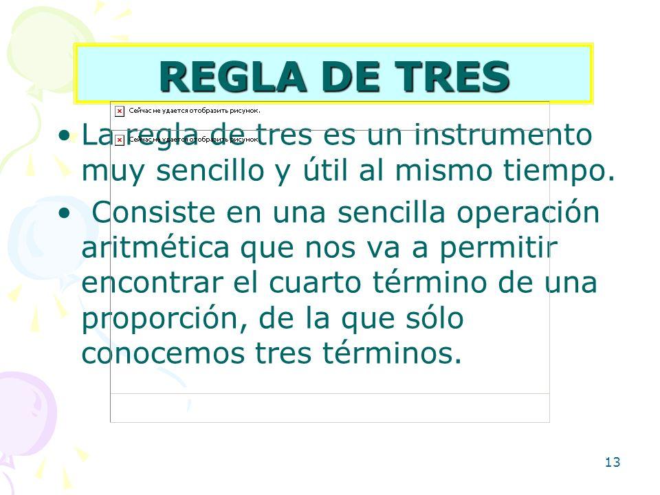 REGLA DE TRES La regla de tres es un instrumento muy sencillo y útil al mismo tiempo.