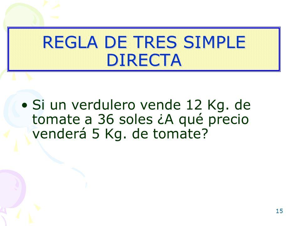 REGLA DE TRES SIMPLE DIRECTA