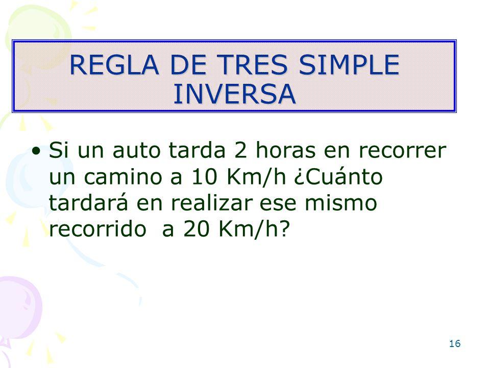 REGLA DE TRES SIMPLE INVERSA
