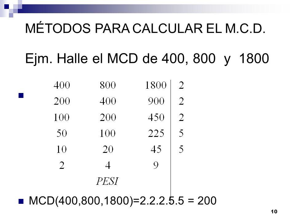 MÉTODOS PARA CALCULAR EL M.C.D.