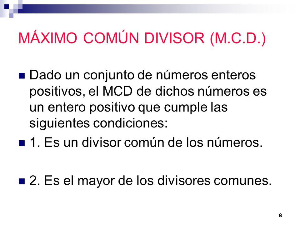 MÁXIMO COMÚN DIVISOR (M.C.D.)