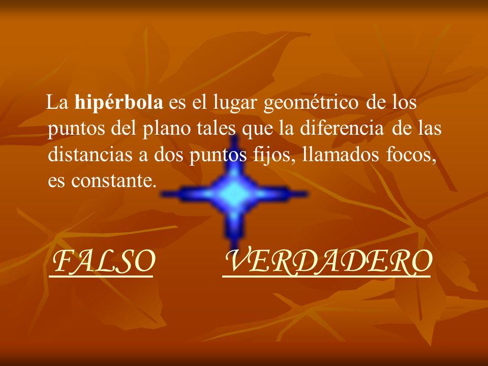 La hipérbola es el lugar geométrico de los puntos del plano tales que la diferencia de las distancias a dos puntos fijos, llamados focos, es constante.