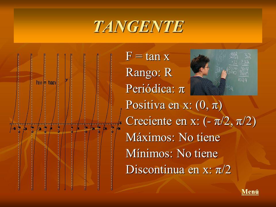 TANGENTE F = tan x Rango: R Periódica: π Positiva en x: (0, π)