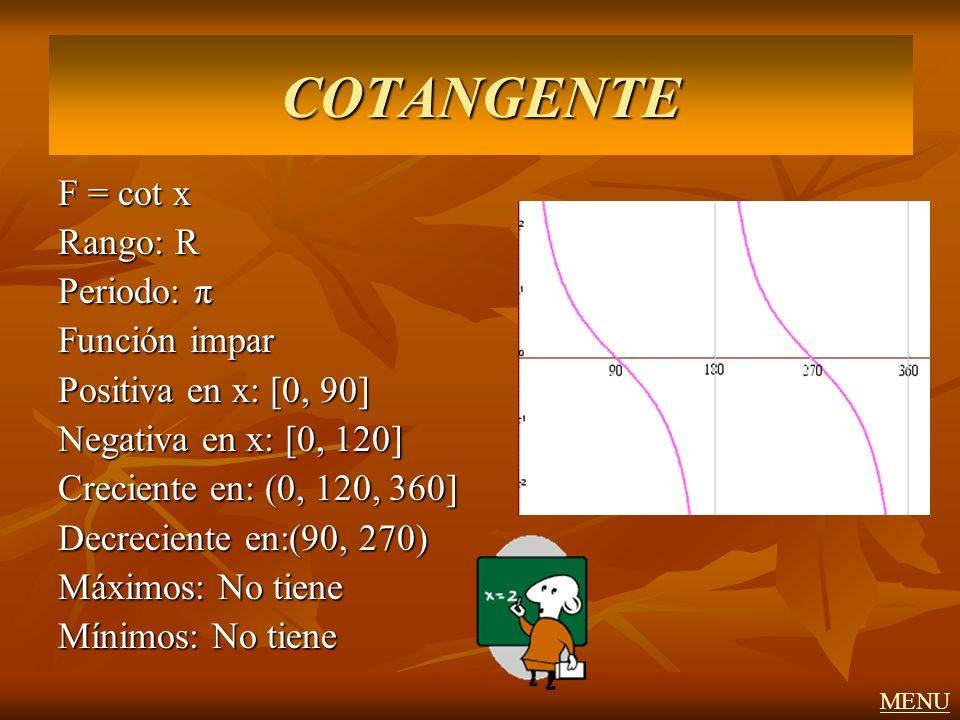 COTANGENTE F = cot x Rango: R Periodo: π Función impar