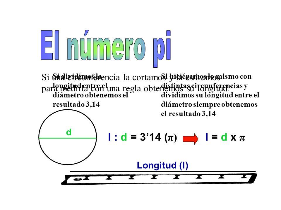 El número pi l : d = 3'14 (π) l = d x π