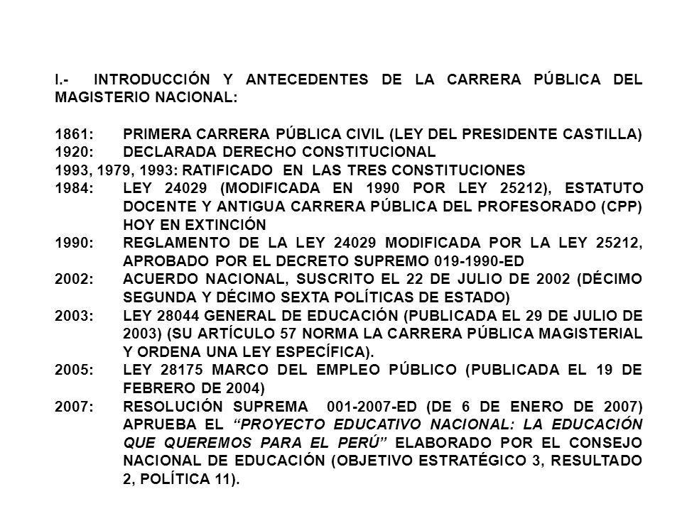 I.- INTRODUCCIÓN Y ANTECEDENTES DE LA CARRERA PÚBLICA DEL MAGISTERIO NACIONAL: