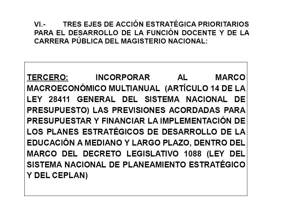 VI.- TRES EJES DE ACCIÓN ESTRATÉGICA PRIORITARIOS PARA EL DESARROLLO DE LA FUNCIÓN DOCENTE Y DE LA CARRERA PÚBLICA DEL MAGISTERIO NACIONAL: