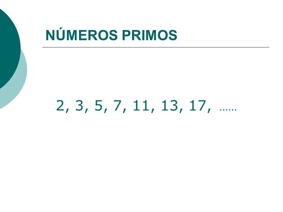 NÚMEROS PRIMOS 2, 3, 5, 7, 11, 13, 17, ……