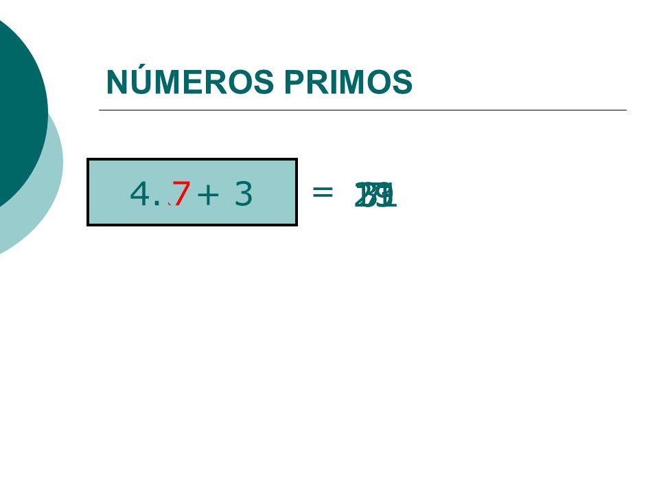NÚMEROS PRIMOS = 4.n + 3 11 23 19 31 3 7 4 5 2 1 7