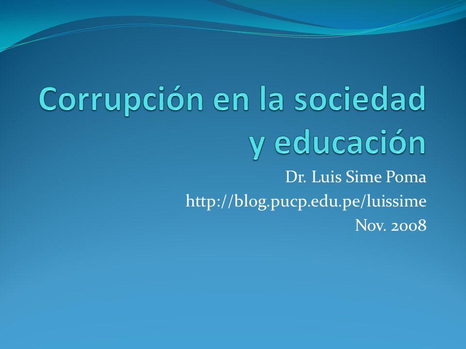 Corrupción en la sociedad y educación