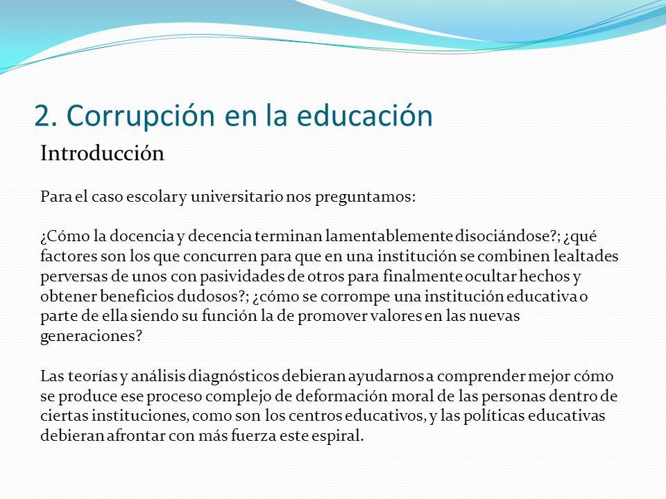 2. Corrupción en la educación