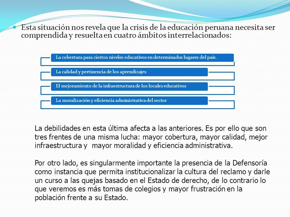 Esta situación nos revela que la crisis de la educación peruana necesita ser comprendida y resuelta en cuatro ámbitos interrelacionados: