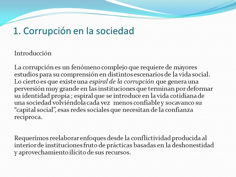 1. Corrupción en la sociedad