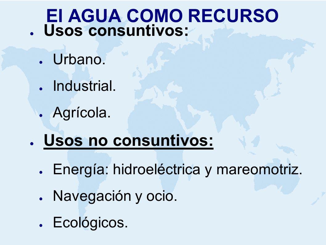 El AGUA COMO RECURSO Usos consuntivos: Usos no consuntivos: Urbano.