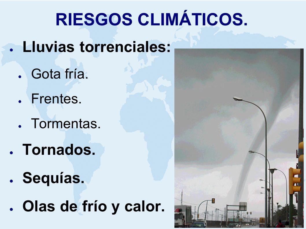 RIESGOS CLIMÁTICOS. Lluvias torrenciales: Tornados. Sequías.