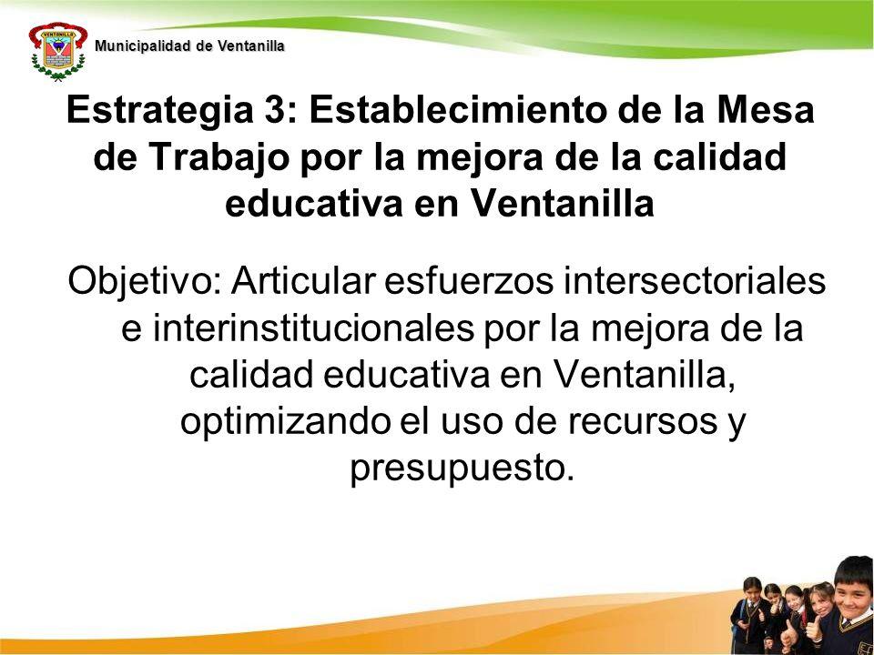 Estrategia 3: Establecimiento de la Mesa de Trabajo por la mejora de la calidad educativa en Ventanilla