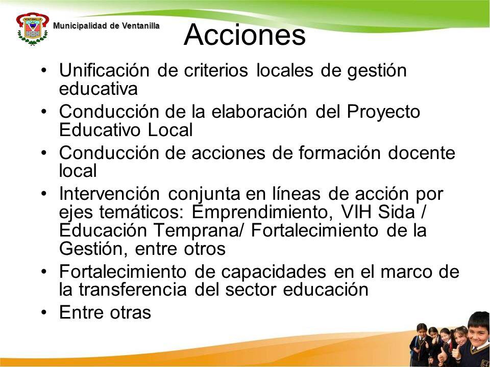 Acciones Unificación de criterios locales de gestión educativa