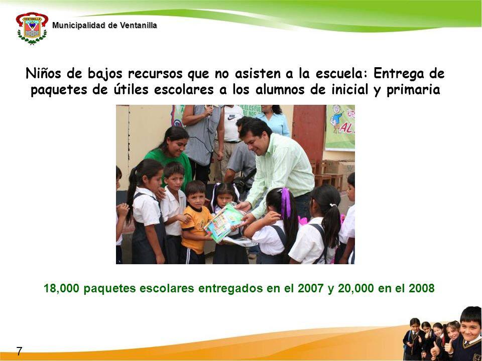 18,000 paquetes escolares entregados en el 2007 y 20,000 en el 2008