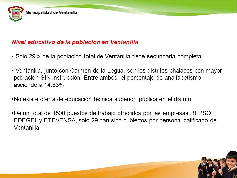 Nivel educativo de la población en Ventanilla