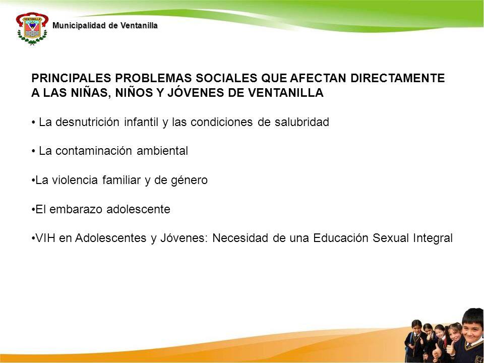 Principales problemas sociales que afectan directamente a las niñas, niños y jóvenes de Ventanilla
