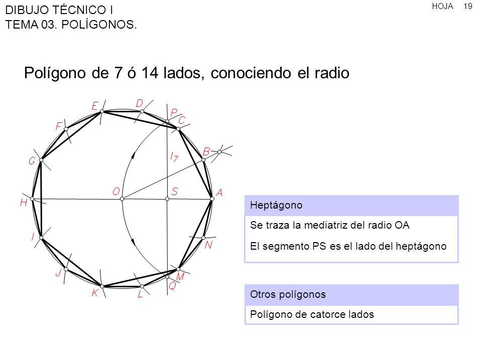 Polígono de 7 ó 14 lados, conociendo el radio