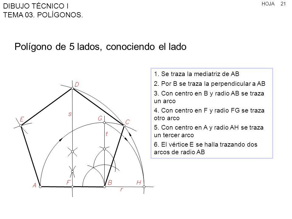 Polígono de 5 lados, conociendo el lado